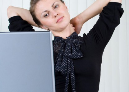 Woman at work managing stress
