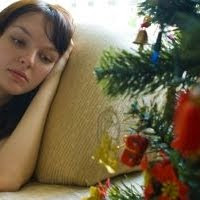Woman sad holidays image