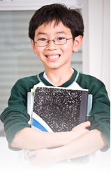boy with school book