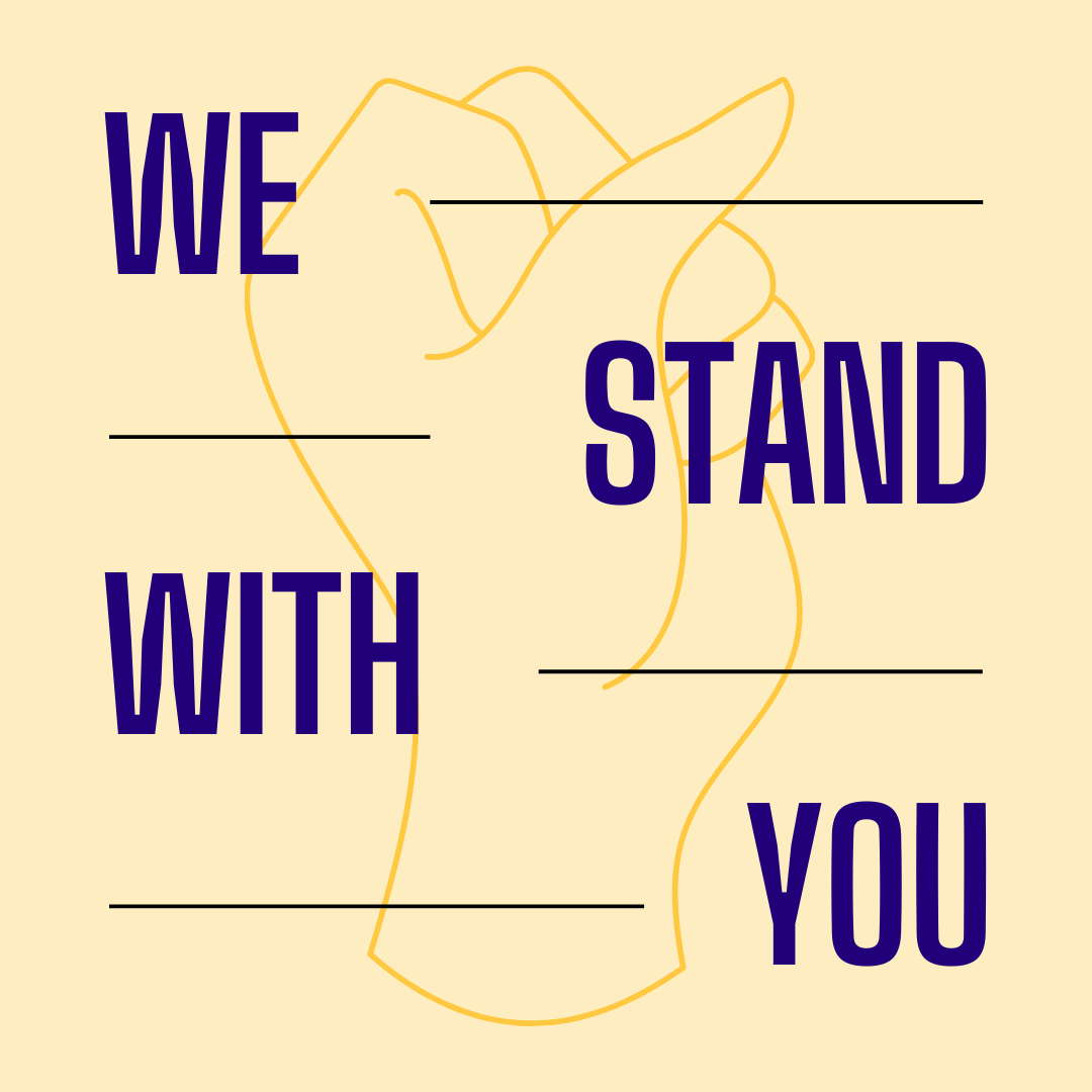 "Image of fist up in the air, with caption stating ""We Stand With You"""